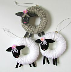 Handmade Easter lamb ornament - These adorable handmade lamb Easter ornaments have wrapped yarn bodies, felt legs, and hand-embroid - Sheep Crafts, Bunny Crafts, Easter Crafts For Kids, Yarn Crafts, Diy And Crafts, Arts And Crafts, Easter Ideas, Etsy Crafts, Easter Tree