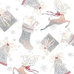 Quilting Cotton - Christmas Holiday Elegance White Reindeer - Christmas Fabric - White - HALF YARD Quilting Treasures Fabrics by LoveEllieBagMaking Find it now at http://ift.tt/2cS8OVA!