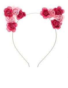 Two-Tone Rose Cat Ears Headband: Charlotte Russe