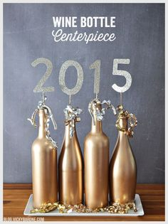 When the Christmas parties have come and gone you might find yourself with a recycling bin full of wine and champagne bottles. Put a few of those to good use in your New Year's Eve decor! Supplies:...