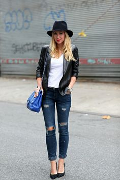Staple Pieces | leather + blue + ripped jeans