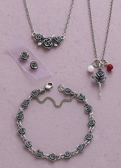 Valentines Collection 2015 - Rose Necklace, Rose Ear Posts, Rose Link Bracelet and Rose Charm with White Glass Enhancer Bead Charm and a Red Glass Enhancer Bead Charm. #JamesAvery #Roses #RoseJewelry