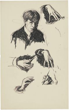"Happy birthday, Edward Hopper!  ""Self-Portrait and Hand Studies"", c. 1900. #art…"