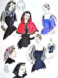 1940s Enchanting Evening Capelets and Head Scarf Pattern VOGUE 5810 Hooded Cape or Glam Draped Back Cowl  Shoulder Cape Wrap Forties Kerchief Head Scarf  Vintage Sewing Pattern