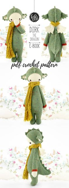 Dirk the Dragon crochet pattern ebook. This designer creates such beautiful amigurumi toy crochet patterns! I love her work. This little dragon pattern is no different! So lovely! #etsy #ad #dragon #crochet #pattern #amigurumi #stuffy #toy