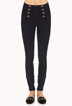 High-Waisted Matelot Skinny Jeans   FOREVER21 - 2000125634