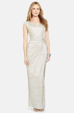 $210 Lauren Ralph Lauren Embellished Metallic Column Gown (Petite) available at #Nordstrom