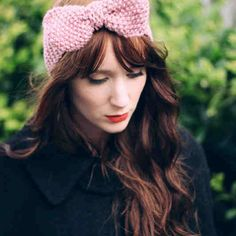 pink bow earwarmer from etsy