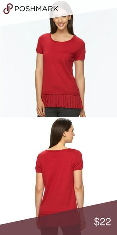 Women's Apt. 9 Pleated Hem Crewneck Sweater You'll look absolutely darling in this women's sweater from Apt. 9. The pleated chiffon hem provides contemporary style.  PRODUCT FEATURES Pleated chiffon hem Crewneck Short sleeves  FABRIC & CARE Acrylic, polyester Machine wash Imported Apt. 9 Tops Blouses