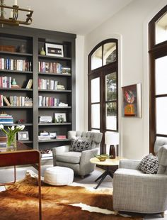 love the bookshelves and the windows.