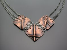Fold formed copper and sterling silver chainmaille parallel helm weave metalwork necklace on Etsy, $125.00