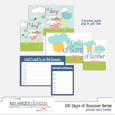 Free 100 Days of Summer Journal Cards from Jen Wright Designs {newsletter subscription required}