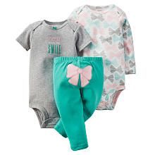 Carters Girls 3 Piece Bow Printed Bodysuit, Grey Heathered You Smile Bodysuit and Teal Bow Appliqued Pant Set