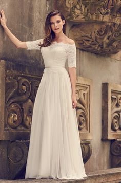 View Delicate Lace Sleeve Wedding Dress - Style from Mikaella Bridal. Off the shoulder Lace bodice with sheer lace back. Wedding Dresses London, Classic Wedding Dress, Bridal Wedding Dresses, Wedding Dress Styles, Designer Wedding Dresses, Lace Wedding Dress With Sleeves, Gowns With Sleeves, Lace Sleeves, One Shoulder Wedding Dress