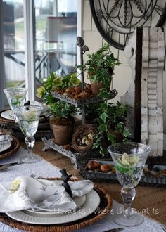 "A beautiful rustic, woodland tablescape from ""Home is Where the Boat Is""."