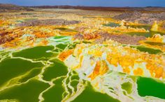 The volcano Dallol, Ethiopia: Located at low altitude above sea level of about 116m, Dallol volcano is the world's lowest land. It has the highest average temperature in the world, but also as tourist sights unique views.