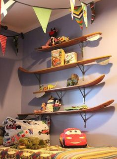recycling ideas and using unusual items for wall decoration.  Use Dad's old barrel-slat skis.