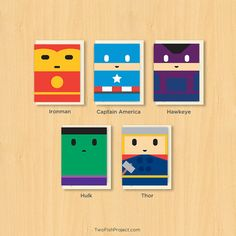 Superhero Birthday Cards Set of 5 Marvel by TwoFishProject on Etsy