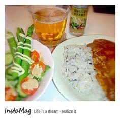 GABANのドレッシング美味い(๑><๑) - 1件のもぐもぐ - カレーライス☆グリーンサラダ with BEER by baccanagod
