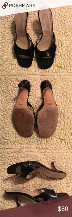 Michael Kors black leather slides size 9.5 Michael Kors black leather slides. Size 9.5. Gently worn. Excellent used condition. I did put an anti slide pad in the footbed which can be removed or replaced. Non smoking environment. Pet friendly household. Michael Kors Shoes Heels
