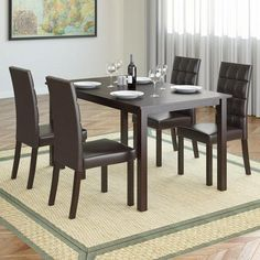 Buy 5pc Dining Set with Leatherette Seats - Dark Brown Online & Reviews