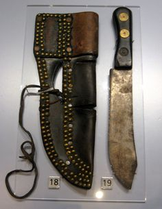 1900 Blackfoot (First Nations) Butchering knife and sheath at the Royal Ontario Museum, Toronto