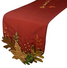 Xia Home Fashions Leaves Applique with Embroidery Collection Fall Table Runner 13 by 72Inch *** Visit the image link more details. #XmasKitchenDining