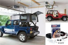 Keep your garage clutter free with a Harken Hoister Hard Top Storage System. This practical and easy to use kit allows you to store your Jeep Hardtop up near the ceiling of your garage utilizing a system of hooks and pulleys. Jeep Wrangler Accessories, Jeep Accessories, Jeep Hardtop Storage, Jeep Hard Top, Jeep Wrangler Unlimited, Wrangler Jeep, Jeep Jku, Jeep Rubicon, Jeep Wranglers