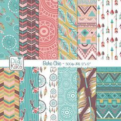 This Boho Chic Digital Papers pack in vintage colors, includes 12 tribal digital scrapbook papers. This Ethnic Digital Papers set is suitable for scrapbook, card design, invitation making, stickers, jewelry, paper crafts, web design, and a lot more.