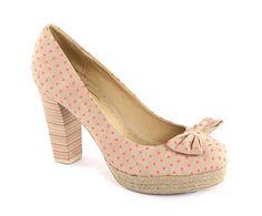 NEW Mustang polka dot beige shoes heels pumps womens platforms EU 39 UK6 zapatos #Mustang #PumpsClassics #Casual