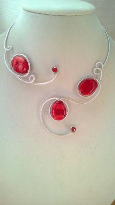 Aluminium wire necklace Red necklace par LesBijouxLibellule