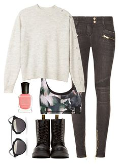 Raven Reyes Inspired Outfit by natashayoung on Polyvore featuring polyvore fashion style Monki Balmain The Upside Dr. Martens Christian Dior Deborah Lippmann clothing