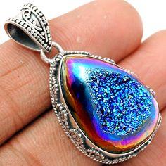 Titanium Window Druzy 925 Sterling Silver Pendant Jewelry TWDP531 - JJDesignerJewelry