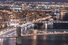 Brooklyn Manhattan and Williamsburg Bridges - RBudhu - A shot of three East River crossings: Brooklyn Manhattan and Williamsburg Bridge as seen from the roof of 55 Water Street -  http://ift.tt/2dqDc8R IFtemppicpinned in Building blocksdownld in ios #September 25 2016 at 02:24PM#via IF