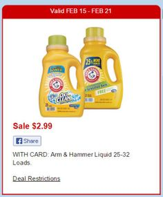 Print NOW! Arm & Hammer Laundry Detergent only $1.99 each at CVS after Sale and Coupon (starting 2/15) - http://www.couponaholic.net/2015/02/print-now-arm-hammer-laundry-detergent-only-1-99-each-at-cvs-after-sale-and-coupon-starting-215/