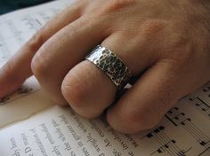Men's Ring, Wedding Band, Sterling Silver, Dark Silver, Thick Band, Rugged, Hammered, Gothic - Marrow Ring on Etsy, $120.00