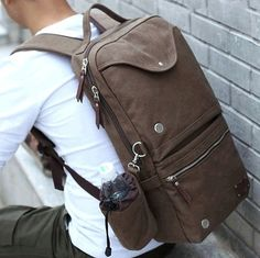 NEW COOL Novelty Brown Men's Vintage Canvas Backpack Traveling Bag Shoulders Bag