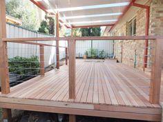 Timber Decking Sydney - Sams Decks and Pergolas Front Deck, Back Patio, Wire Deck Railing, Minimal House Design, Pool Deck Plans, Deck Posts, Timber Deck, Reno, Pool Landscaping
