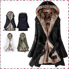 厚い フェイクファーライニング女性の毛皮パーカー冬暖かい長い毛皮の内側コート ジャケット の綿の服サーマルパーカー AA1607