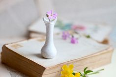 Tiny Weenie Bisque Ceramic Flower Vase or Miniature Pot