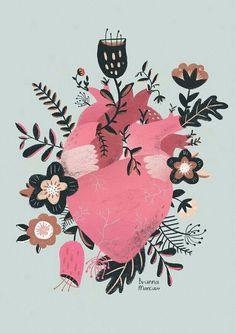 Imagem de pink, art, and drawing Art And Illustration, Illustrations And Posters, Landscape Illustration, Inspiration Art, Art Inspo, Anatomy Art, Motif Floral, Heart Art, Art Design