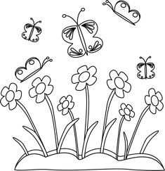 Black and White Spring Flowers and Butterflies Butterfly clip art Butterfly coloring page Clip art