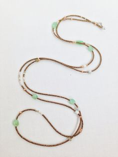 Long seed bead and gemstone necklace on Etsy, $24.00