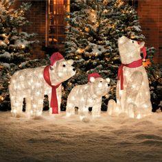 Pre Lit Polar Bear Christmas Decorations Winter Wonderland Lawn