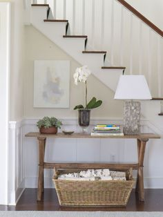 Orrick and Company - Project III May Love this table and vignette composition. Rustic Entry Table, Modern Entry Table, Entry Tables, Hallway Tables, Entry Foyer, The Hamptons, Living Spaces, Living Room, Sweet Home