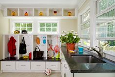 high window over cubbies    1970's Back House Addition - traditional - laundry room - dc metro - Wentworth, Inc.