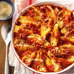 Italian Stuffed Shells Recipe from Taste of Home -- shared by Beverly Austin of Fulton, Missouri