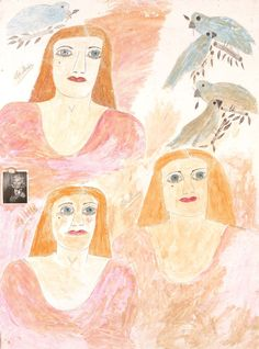 Lee Godie,1970sThree Self-Portraits with Photo and Cameopen and watercolor on canvas with mixed media503/8 in. x 38 in. (127.9 x 96.5cm)