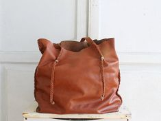 slouchy leather tote bag woven detail
