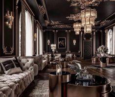 Stunning Luxury black living room decor with RH Soho tufted sofa sohosofa 774971048362740058 Villa Interior, House Paint Interior, Luxury Homes Interior, Luxury Home Decor, Interior Design Living Room, Living Room Designs, Living Room Decor, Kitchen Interior, Luxury Rooms